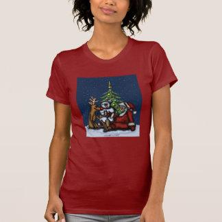 Funny Christmas drinking party cartoon art t-shirt