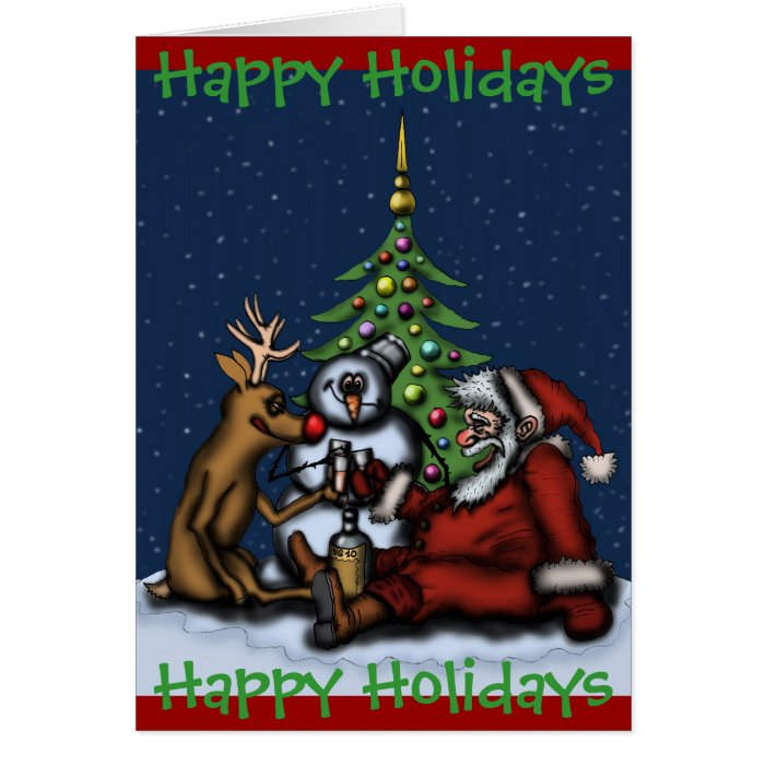 Funny Christmas drinking party Happy Holidays card