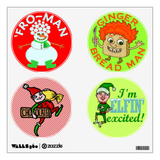 Funny Christmas Elf Gingerbread Snowman Wall Decal