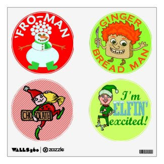 Funny Christmas Elf Gingerbread Snowman Wall Stickers