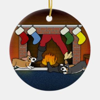 Funny Christmas Fireplace Corgis Ornament