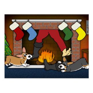 Funny Christmas Fireplace Corgis Postcard