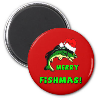 Funny Christmas fishing 2 Inch Round Magnet