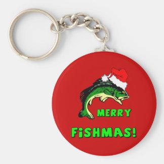 Funny Christmas fishing Basic Round Button Keychain