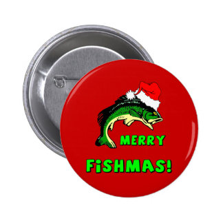 Funny Christmas fishing Button