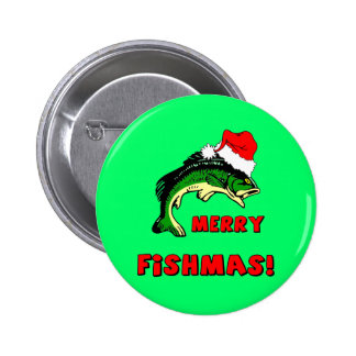 Funny Christmas fishing 2 Inch Round Button