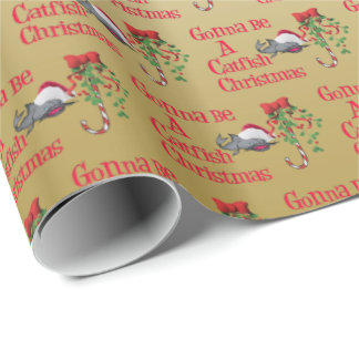 Funny Christmas Fishing ♫♥  Catfish Christmas Gold Wrapping Paper
