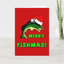 Funny Christmas fishing Holiday Card