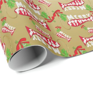 ♫♥ Funny Christmas Fishing Merry Fishmas Gold Wrapping Paper