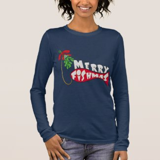 Funny Christmas Fishing -Merry Fishmas Long Sleeve T-Shirt
