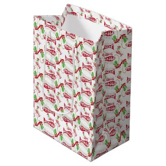 Funny Christmas Fishing Merry Fishmas ♫♥ Medium Gift Bag