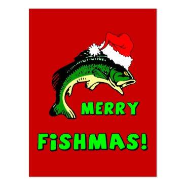 Christmas Themed Funny Christmas fishing Postcard