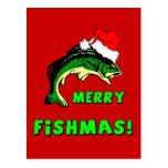 Funny Christmas fishing Postcards