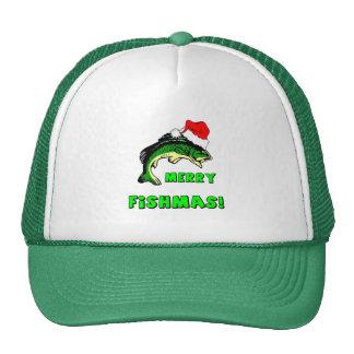Funny Christmas fishing Trucker Hat