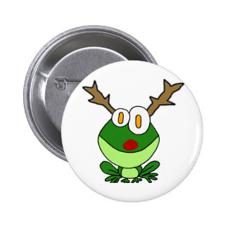 Funny Christmas Frog as Reindeer 2 Inch Round Button