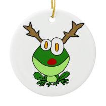 Funny Christmas Frog as Reindeer Ceramic Ornament