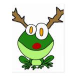 Funny Christmas Frog as Reindeer Postcard