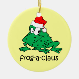 funny Christmas frog Ceramic Ornament
