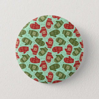 Funny Christmas Gloves and snowflakes green bg Button