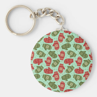 Funny Christmas Gloves and snowflakes green bg Keychain