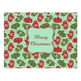 Funny Christmas Gloves and snowflakes green bg Postcard