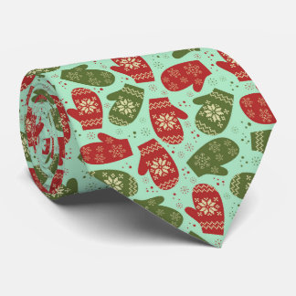 Funny Christmas Gloves and snowflakes Neck Tie