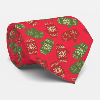 Funny Christmas Gloves, snowflakes, red backgound Neck Tie