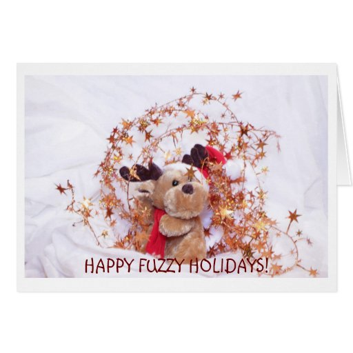 Funny Christmas greeting card with fuzzy elk
