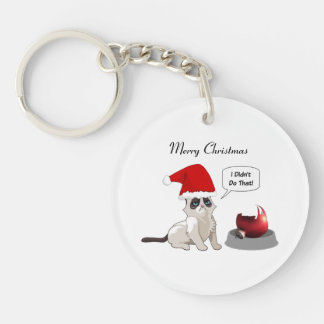 Funny Christmas Grumpy Kitten Round Keychain