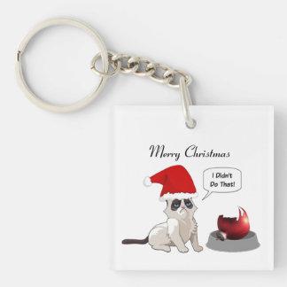 Funny Christmas Grumpy Kitten Square Keychain
