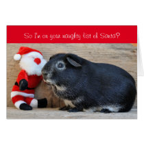 Funny Christmas Guinea Pig and Santa customized Card