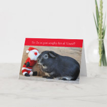 Funny Christmas Guinea Pig and Santa customized Holiday Card