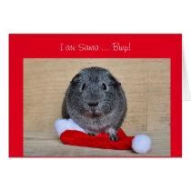 Funny Christmas Guinea Pig ate Santa customized Card