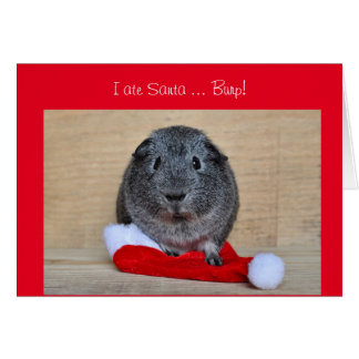 Funny Christmas Guinea Pig ate Santa customized Card