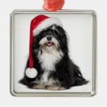 Funny Christmas Havanese Dog With Santa Hat Metal Ornament