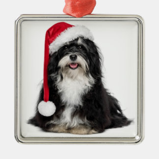 Funny Christmas Havanese Dog With Santa Hat Square Metal Christmas Ornament