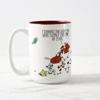 Funny Christmas Horse & Butterfly Cartoon mug