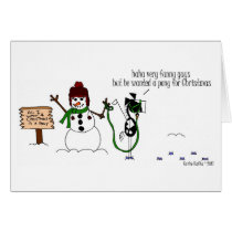 Funny Christmas Horse & Snowman Cartoon Card