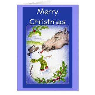 Funny Christmas Horse & Snowman Humor Greeting Card