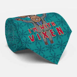 Funny Christmas I'm with Vixen Reindeer Election Neck Tie