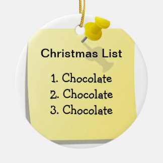 Funny Christmas List Ceramic Ornament