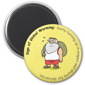 Funny Christmas Magnet: Global Warming and Santa 2 Inch Round Magnet