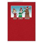 Funny Christmas: Mary Chris Moose Greeting Card