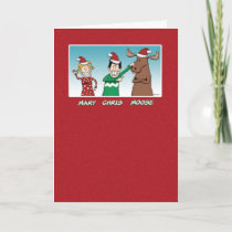 Funny Christmas: Mary Chris Moose Holiday Card