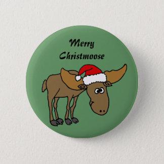 Funny Christmas Moose Cartoon Pinback Button