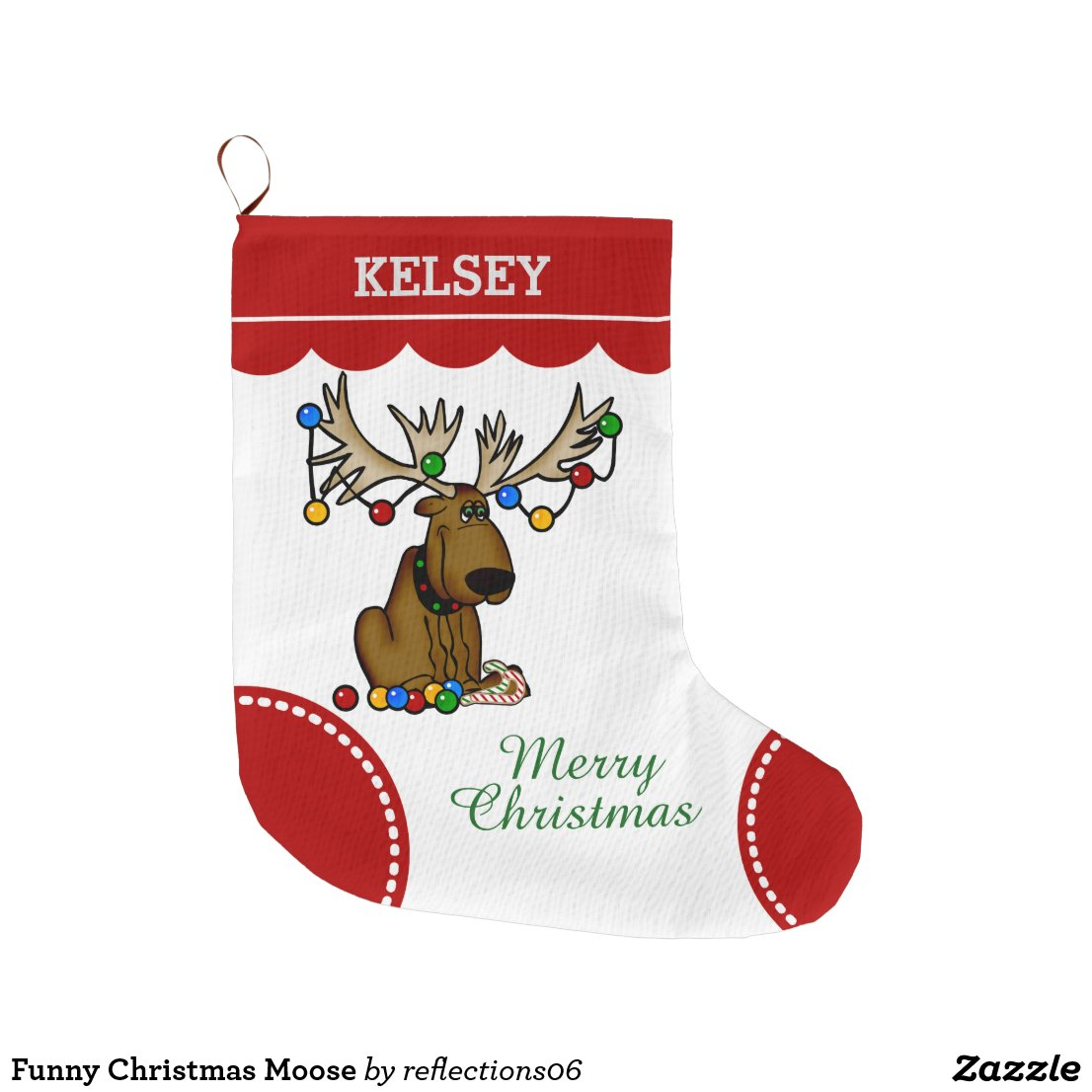 Funny Christmas Moose Large Christmas Stocking