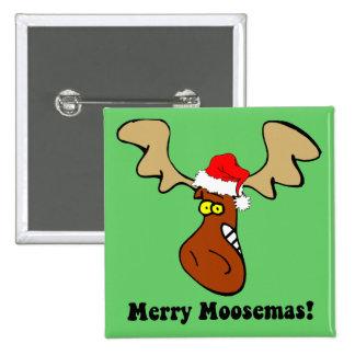 Funny Christmas moose Pinback Button