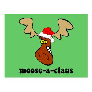 Funny Christmas moose Postcard