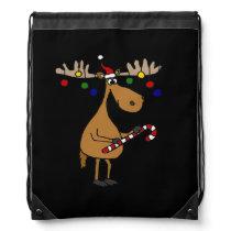 Funny Christmas Moose with Ornaments Drawstring Bag