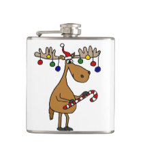 Funny Christmas Moose with Ornaments Flask